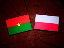 Burkina Faso flag with Polish flag on a tree stump isolated. Burkina Faso flag with Polish flag on a tree stump vector illustration