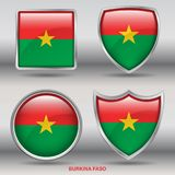 Burkina Faso Flag in 4 shapes collection with clipping path royalty free stock photos
