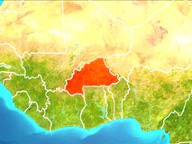 Map of Burkina Faso. Burkina Faso highlighted in red from Earth's orbit. 3D illustration. Elements of this image furnished by NASA Stock Photo