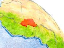 Burkina Faso im roten Modell von Erde Lizenzfreie Stockbilder
