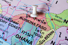 Burkina faso map. Macro shot of burkina faso map with push pin royalty free stock photography