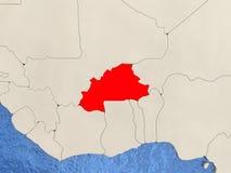 Burkina Faso on map Stock Photography