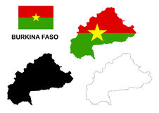 Burkina Faso map vector, Burkina Faso flag vector, isolated Burkina Faso Royalty Free Stock Photo