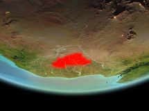 Burkina Faso na noite na terra Imagem de Stock