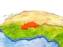 Burkina Faso no modelo da terra Imagem de Stock Royalty Free