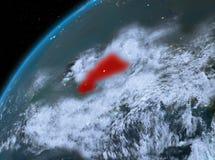Burkina Faso op aarde in ruimte bij nacht Royalty-vrije Stock Foto