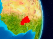 Burkina Faso from space. Country of Burkina Faso in red on planet Earth. 3D illustration. Elements of this image furnished by NASA Royalty Free Stock Photo