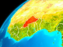 Burkina Faso from space. Orbit view of Burkina Faso highlighted in red with visible borderlines on planet Earth. 3D illustration. Elements of this image Stock Image
