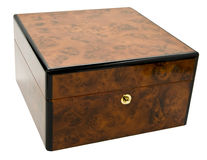 Burl wood box with lock. Burl wood box with lid and lock isolated against a white background royalty free stock image