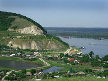Burlaka on the Volga. Landscape on the Volga river, the hills. here Serov paints a picture of Burlaka on the Volga Royalty Free Stock Image