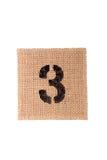 Burlap αριθμού σάκος που απομονώνεται σε ένα άσπρο υπόβαθρο με το κενό διάστημα Στοκ φωτογραφίες με δικαίωμα ελεύθερης χρήσης