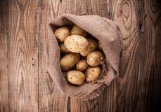 burlap σάκος πατατών συγκομιδ Στοκ Εικόνες