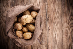 burlap σάκος πατατών συγκομιδ Στοκ φωτογραφίες με δικαίωμα ελεύθερης χρήσης