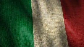Burlap σημαία της Ιταλίας απόθεμα βίντεο