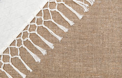 Burlap background bordered by country cloth Stock Photography