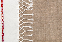 Burlap background bordered by country cloth Royalty Free Stock Photography
