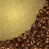 Burlap background with coffee beans Stock Photo