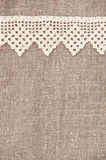 Burlap background with lacy and linen cloth Stock Photos