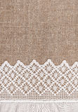 Burlap background with lacy and linen cloth Stock Photography
