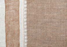 Burlap background with linen cloth Stock Photography