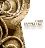 Burlap background with rope. On white background with place for text stock image