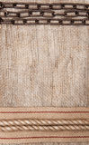 Burlap background with sacking ribbon, metal chain and rope Stock Images