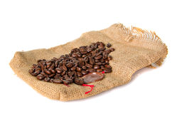 Burlap bag with cofee bean Stock Photos
