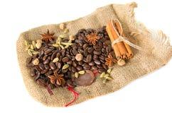 Burlap bag with cofee bean Stock Photo
