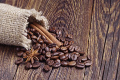 Burlap bag with coffee beans Royalty Free Stock Photo