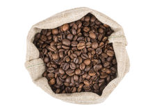 Burlap bag of coffee beans roasted coffee, top view Stock Image