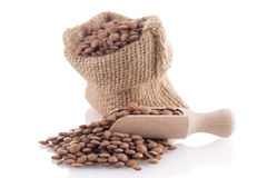 Burlap bag with lentils Stock Photo