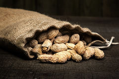 burlap bag of peanuts spilling on wood plank background Stock Photography