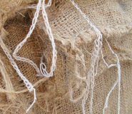 Burlap Bags. Large burlap sacks piled high make an interesting background Stock Images