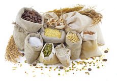 Bags with cereals and herbs Royalty Free Stock Images