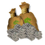 Burlap Bags of Money Royalty Free Stock Images