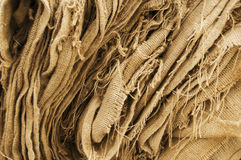 Burlap. Bags ready for some oysters Stock Images