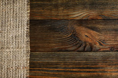 Free Burlap Bordered With Old Wood Background Stock Photography - 48910032