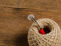 burlap brown rope spool Royalty Free Stock Photos