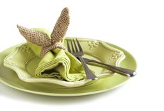 Burlap bunny napkin ring. Easter table setting. Royalty Free Stock Photos