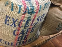 Burlap coffee bag. Berlin, Germany - January 22, 2018: Italito Excelsior Cafè de Colombia burlap coffee bag Royalty Free Stock Images