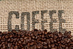 Burlap and Coffee Beans Stock Image