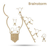 Burlap creative light bulb idea conceptual brainstorming Stock Photography
