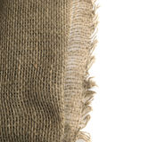 Burlap Edge or Old Linen Canvas on White Background Royalty Free Stock Photography