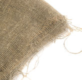 Burlap Edge or Old Linen Canvas on White Background Royalty Free Stock Image