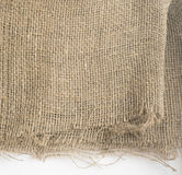 Burlap Edge or Old Linen Canvas on White Background Stock Image