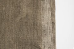 Burlap Edge or Old Linen Canvas on White Background Royalty Free Stock Photos