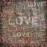 Burlap för tappning för bakgrundsförälskelsetextur Royaltyfri Bild