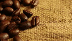 Burlap Fabric and Coffee Beans. Macro Royalty Free Stock Image