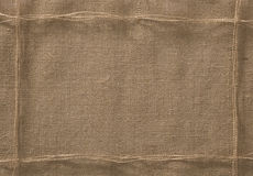 Burlap Fabric Frame Background, Sack Cloth Rope Thread royalty free stock photo