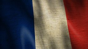 Burlap flag of France waving animation. stock footage